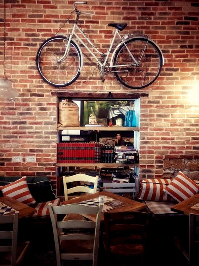 Brick Wall No People Architecture Indoors  Building Interior Cafeteria Bicycle Table Chairs Mirror Larnaca, Cyprus Decoration Decoration Vintage