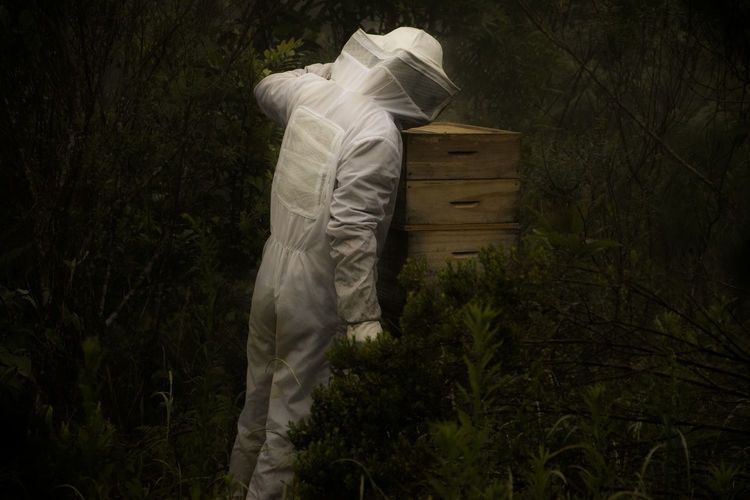 Man standing by beehive
