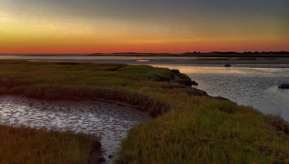 Sunset Water Sea Nature Reflection Beauty In Nature Horizon Over Water Scenics Tranquil Scene Outdoors Cape Cod Golden Hour Colors Marshes Majestic Yarmouth, Mass Landscape Beach Sky