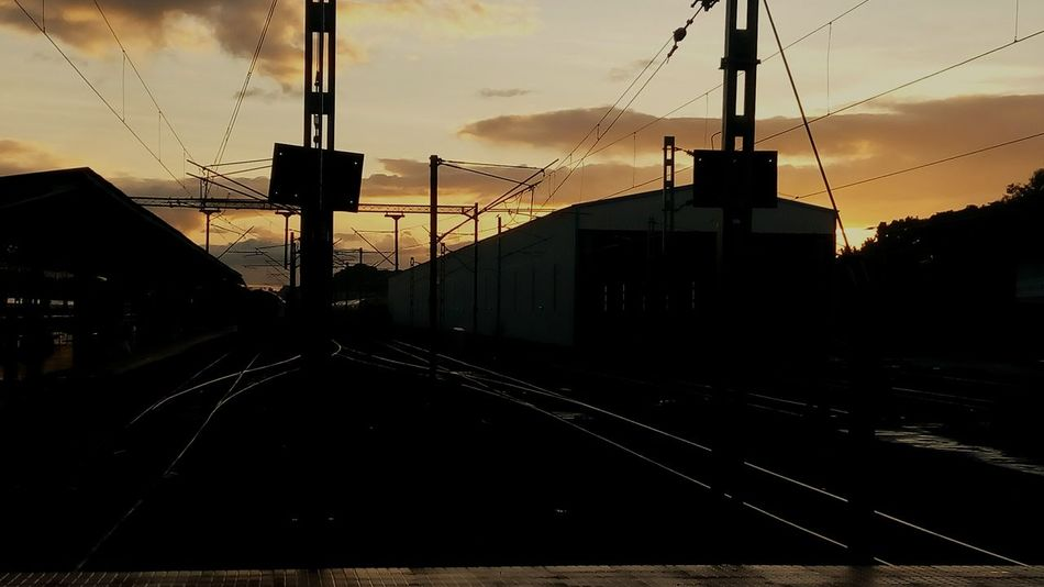Dawn Of A New Day Railwaystation Yard Track Train Sky Morning Sky Shadows Rays Of Light Beautiful Nature