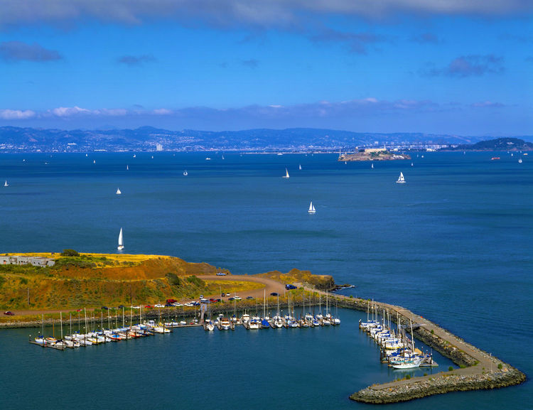 San Francisco cityscape, coastal scenery and beautiful City San Francisco United States Western America Architecture Beauty In Nature Blue Building Exterior Built Structure City Cityscape Day High Angle View Mountain Nature Nautical Vessel No People Outdoors Port Scenics Sea Sky Transportation Water Waterfront