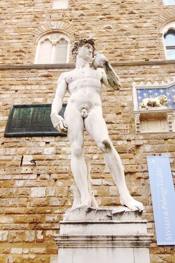 Christmas with David! 😬 - Statue Sculpture Human Representation Architecture Place Of Worship Outdoors No People Day David Michelangelo Palazzo Vecchio Man Icon Cult