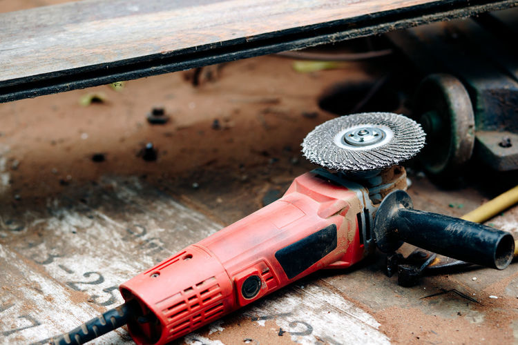 High angle view of electric sander