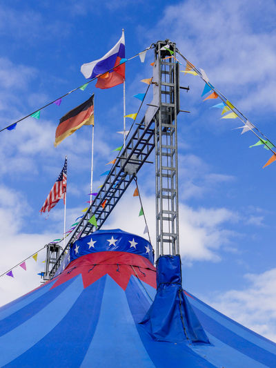 Low Angle View Of Flags On Tent Against Sky