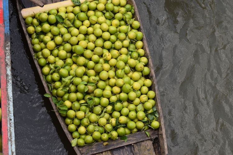 Floating Market Fruit Market Business Finance And Industry Supermarket High Angle View Retail  Variation Food And Drink Green Color For Sale