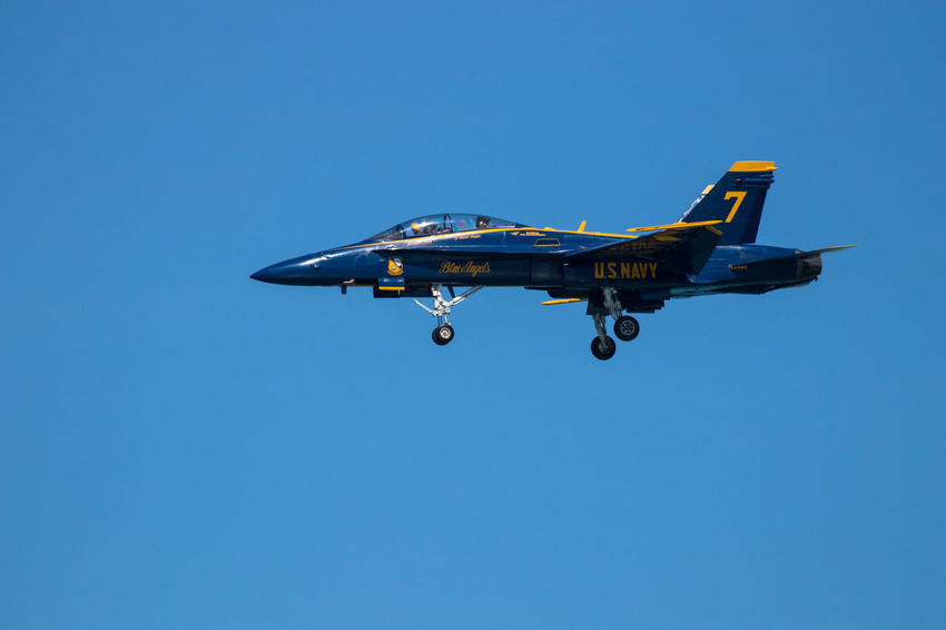 Navy Blue Angels Air Vehicle Airplane Blue Clear Sky Copy Space Day Fighter Plane Flying Mode Of Transportation Motion Nature No People on the move Plane Sky Transportation