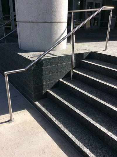 Denver corner Concrete Steps shadows Steel Handrail modern architecture Broadway street corner USA