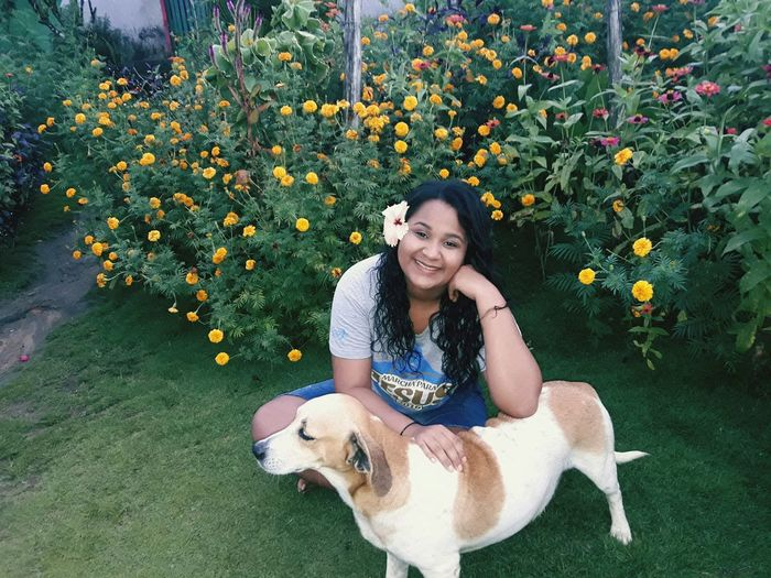 🐕💙 Flower Pets Smiling Happiness Portrait Enjoyment Young Women Grass Dog Stray Animal Dog Lead
