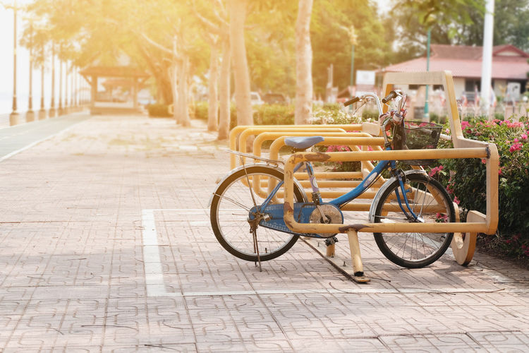 Bicycle on footpath in park