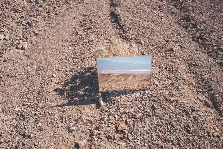 Mirror Brown Close-up Day Dirt Field High Angle View Land Nature No People Outdoors Rock Rock - Object Rough Sand Shadow Solid Still Life Sunlight Surface Level Textured  Tranquility Visual Creativity
