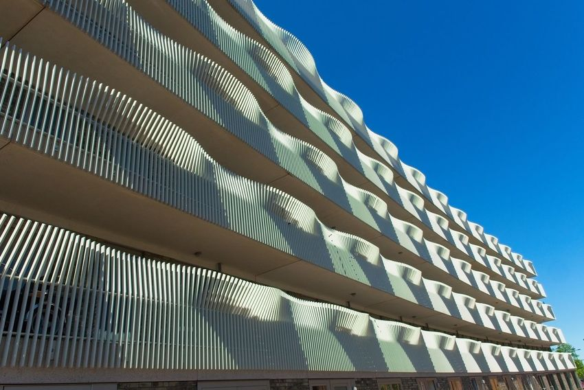 Architecture Blue Building Exterior City Geometric Structures Ijburg Light And Shadow Sky
