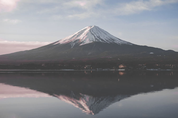 Fuji Fujisan Mtfuji Mountain Lake Water Reflection Scenics Sky Nature Outdoors Beauty In Nature Snow Day No People