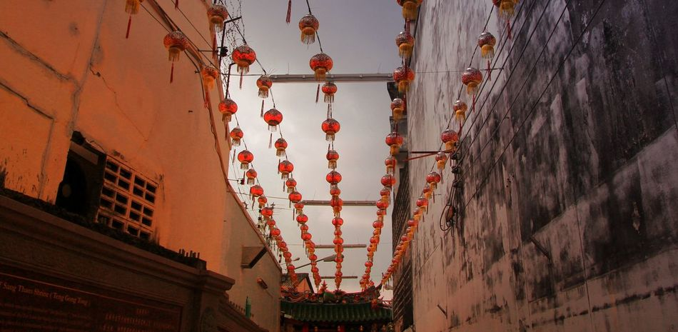 Architecture Building Exterior Built Structure Chinese Lantern Chinese Lantern Festival City Cultures Day Flag Hanging Lantern Low Angle View No People Outdoors Phuket Old Town Red Sky
