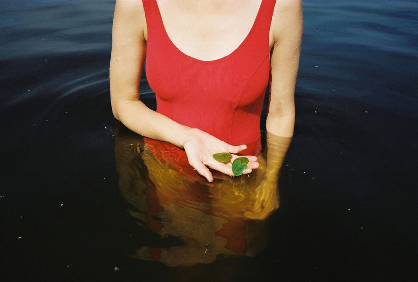 35mm 35mm Film Analogue Photography Film Red Reflection Seaweed Summertime Swimming Body Part Film Photography Filmisnotdead High Angle View Holding Human Hand Lake Leisure Activity Lifestyles Real People Summer Swimming Suit  Water Weed Women