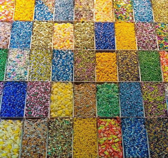 Full frame shot of multi colored pencils in market