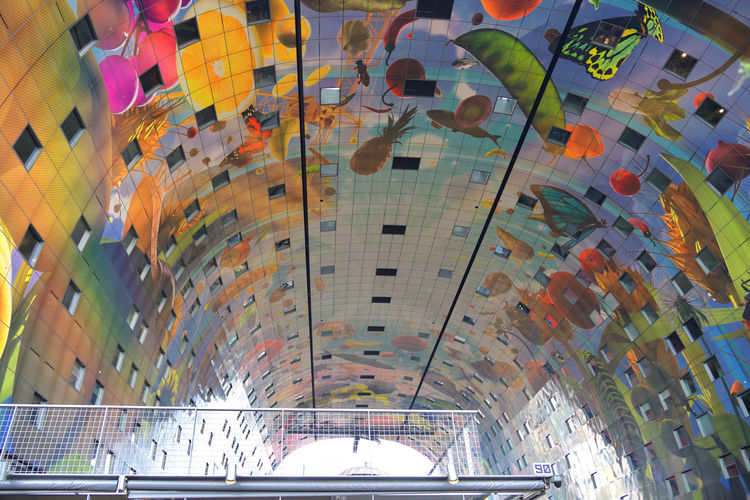 Rotterdam Markthal Architecture City Market Building Ceiling Interior Rotterdam Europe Indoors  Netherlands No People Low Angle View Rotterdam, Netherlands Multi Colored Built Structure NL528_ROTTERDAM_AK NL528_NETHERLANDS_AK