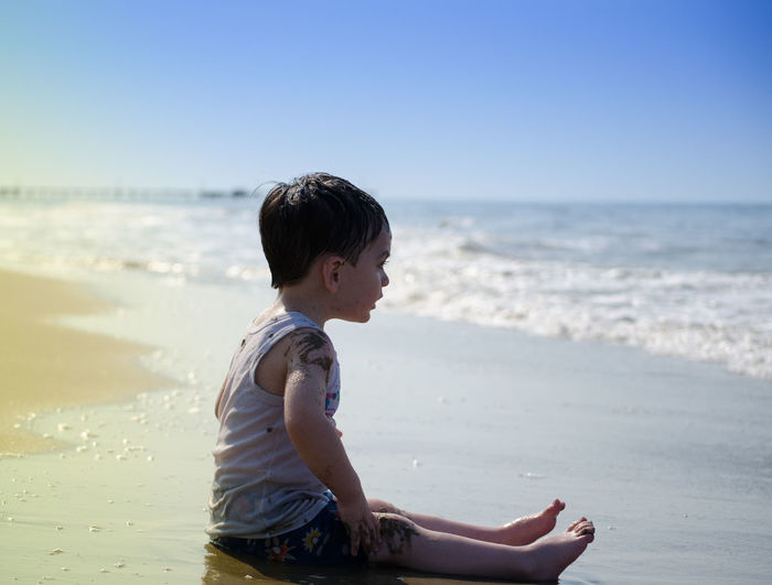 Beach Boys Childhood Clear Sky First Time Horizon Over Water Lifestyles My Son Person Relaxation Sand Sea Shore Tranquility Tropical Climate Vacations Water