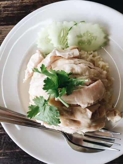 Rice with chicken Rice Paddy Chıcken Food And Drink Healthy Eating Plate Still Life Table Fork Herb Meal Close-up Vegetable Wellbeing