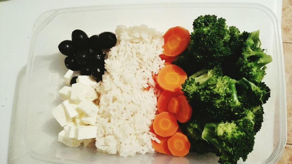 Lunch Carrots Olives Cheese Broccoli Rice Vegetable Foodporn