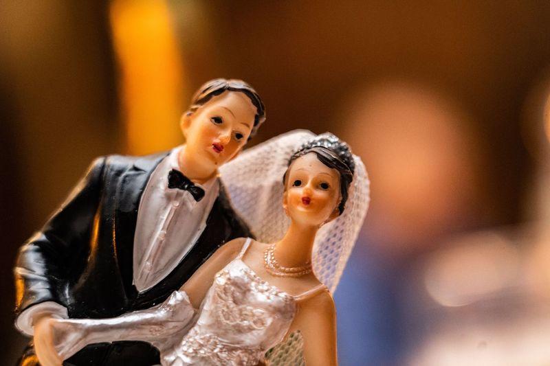 Close-up of couple figurine