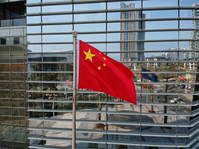 Chinese Flag Architecture Building Exterior Built Structure Chinese Day Flag No People Outdoors Patriotism Pride Red