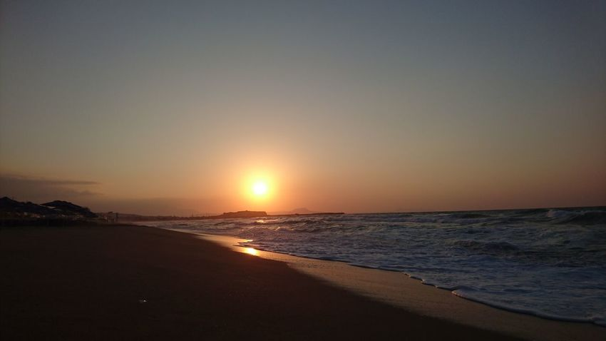Beach Sea Sunset Horizon Over Water Sand Scenics Travel Destinations Water Tranquility Vacations Sun Tourism Beauty In Nature Nature Tranquil Scene Sky Outdoors Summer Wave Silhouette Rethymnon Mediterranean Sea Crete Rethymnon Crete