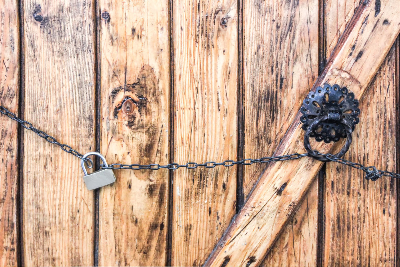 wood - material, full frame, no people, safety, protection, security, textured, entrance, door, backgrounds, close-up, metal, day, pattern, old, outdoors, brown, lock, fence, wood grain