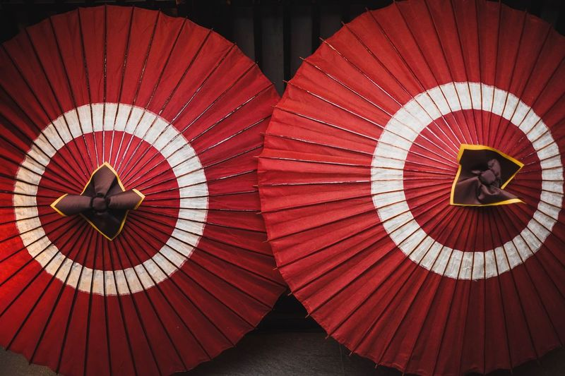 Directly above shot of red umbrellas