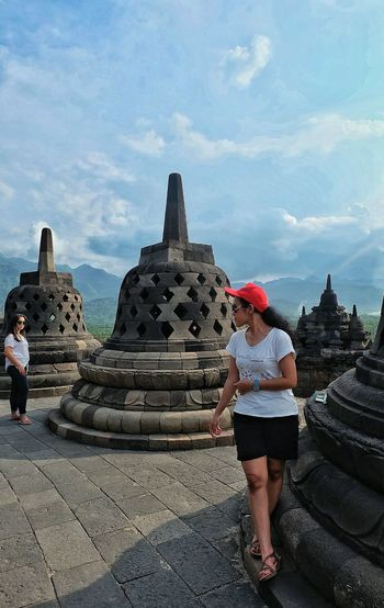 Temple Women Adults Only Outdoors Day Sky Portrait Of A Friend First Eyeem Photo Eye4photography  EyeEm Gallery EyeEm Selects EyeEm Best Shots EyeEmNewHere Let's Go. Together. Ancient Architecture Travel Destinations Borobudur Temple, Indonesia