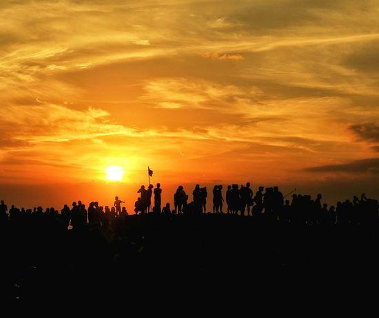 Waiting Sunset Landscape_photography People EyeEm Best Shots EyeEm Gallery EyeEm Selects Sunset Silhouette Togetherness Photography Themes Men Orange Color Sky Landscape