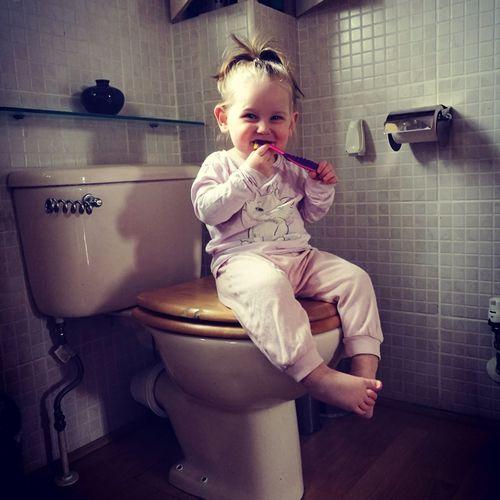 Toddler Girl In Bathroom