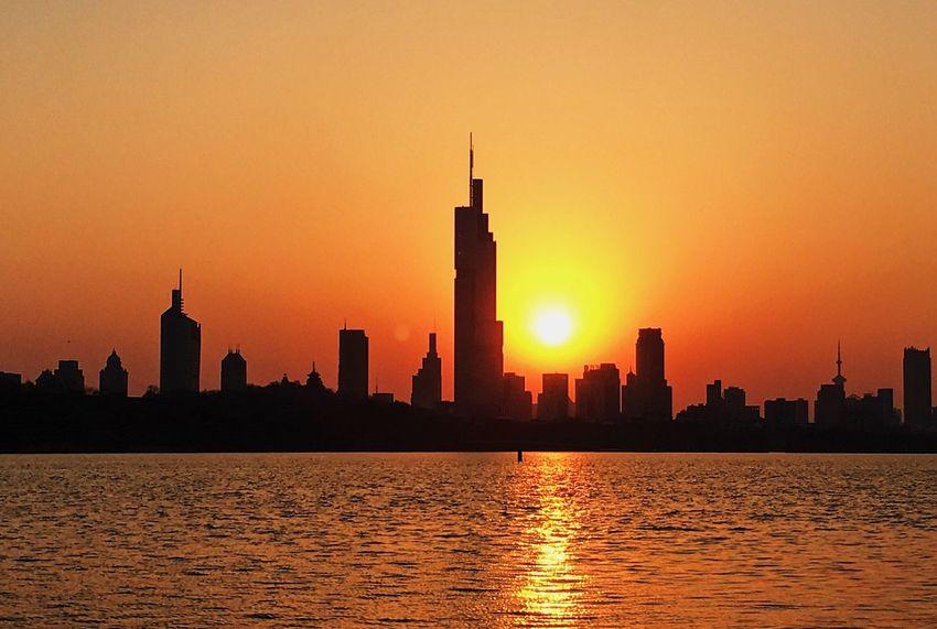 Sunset Water Skyscraper Urban Skyline Sun City