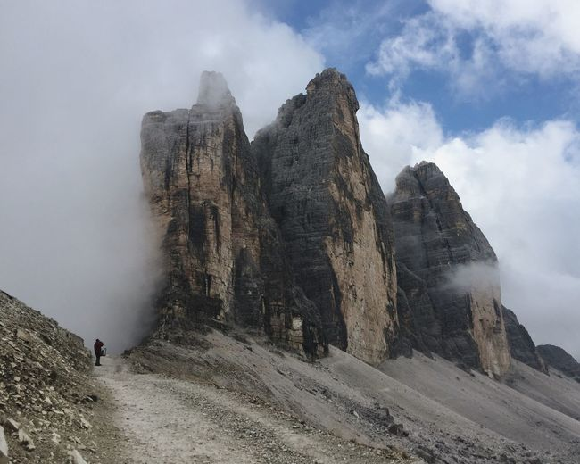 Rock formations covered in clouds