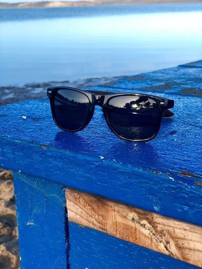 Morning light Wood Bluepaint Sunglasses👓 Pier Sunrise Sunglasses Protection Blue Safety Outdoors Day No People Beach Sea