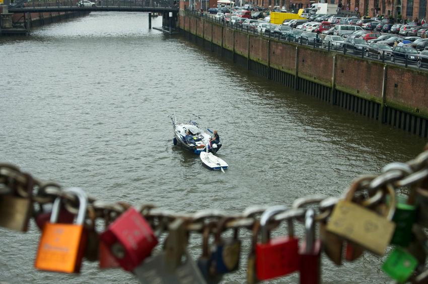 Love Locks on Bridge in Hamburg Habour Boat Day Focus On Foreground Love Locks Bridge Nautical Vessel Water