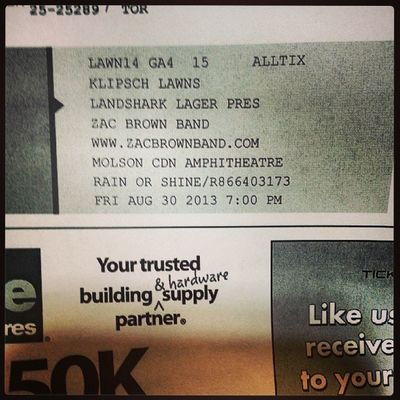 Done and done Zacbrownband Tickets ThankGod Wefoundsome cantwait august30 2days molsonamp @mimico_colin