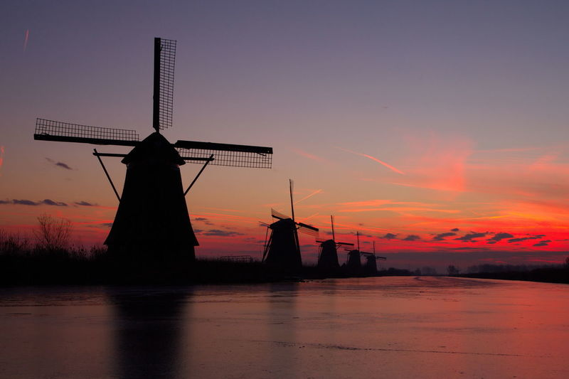 Beauty In Nature Colour Sunrise Ice Kinderdijk Landscape_photography Mills Kinderdijk Molens Molens Kinderdijk Netherlands Kinderdijk Outdoors Romantic Sky Silhouette Sunrise Kinderdijk Sunrise_sunsets_aroundworld Windmill