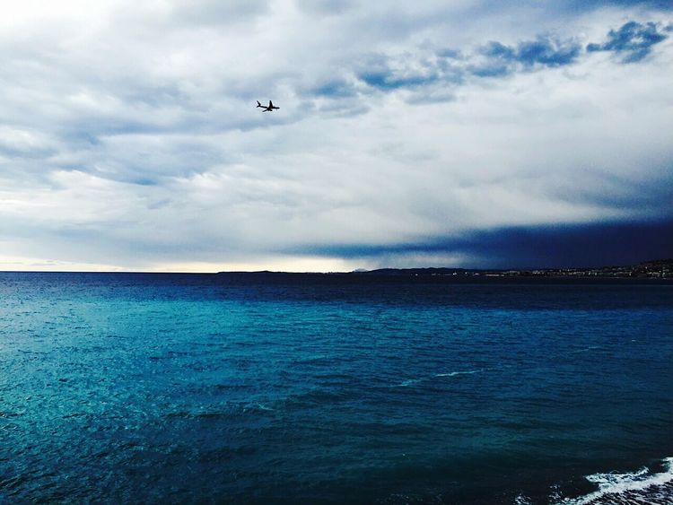 Aeroplane In The Sky Sea And Sky Upupandaway Cotedazur South Of France Blue Taking Photos Cloudy Day Calm Sea Nature Landscape Nice, France Nizza Francia Côte D'Azur Plane Aurevoir EyeEm Best Edits Mybestphoto2015 Eye4photography  EyeEm Best Shots