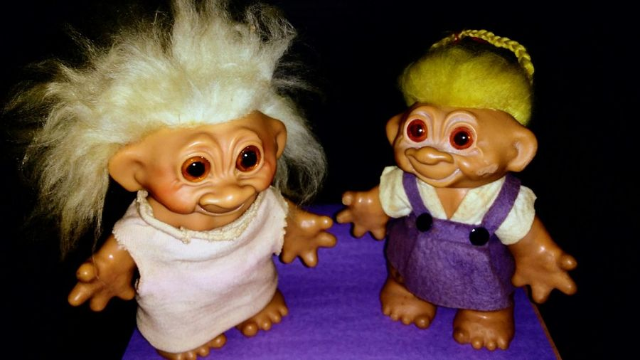 Studio Shot Happiness Smiling Close-up Black Background Indoors  1960s Troll Dolls 😀😀😀😀 My yard sale find today. ❤❤❤❤