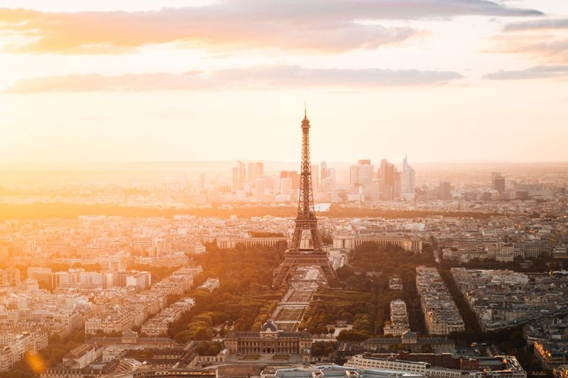 Aerial view of eiffel tower during sunset