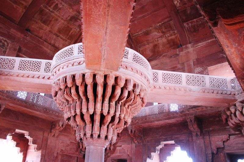 Fatehpur Sikri Built Structure Architecture Architectural Column Low Angle View Ceiling History Ornate Ancient Civilization