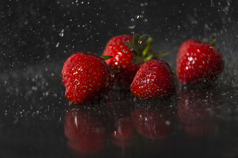 Close-Up Of Strawberries During Rainy Season