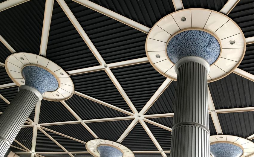 A pillar viewed from bottom to top