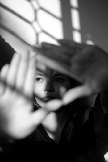Triangle Blackandwhite Black And White Portrait Human Eye Childhood Loneliness Depression - Sadness Beautiful Woman Looking Through Window Young Women Shadow Home Interior