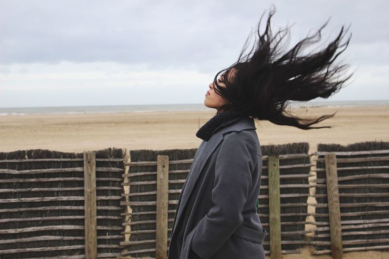 [ High By the Beach 1 ] Unleashed. Photography In Motion Freedom Expression Free Movement Hair Ocean Ocean View Motion Motion Blur Blur Blurred Motion Showcase April Deauville Surrealism Asian  Woman Woman Portrait Better Look Twice Portrait Of A Friend Let Your Hair Down