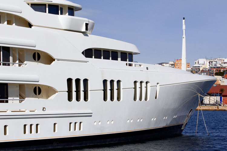 Luxury yacht Nautical Vessel Mode Of Transportation Transportation Water Ship Nature No People Day Sky Moored White Color Cruise Ship Cruise Outdoors Travel Passenger Craft Luxury Yacht