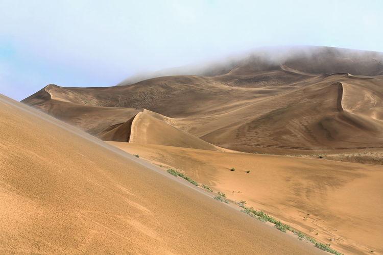 1175 tall megadune ridges overlook the e.shore of sumu barun jaran lake. badain jaran desert-china.