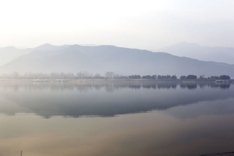 Beauty In Nature Calm Countryside Distant Foggy Food Gongjicheon Lake Lakescape Lakeshore Lakeview Majestic Outdoors Reflection River Riverbank Scenics Standing Water Tranquil Scene Tranquility Tree Water Waterfront Winter