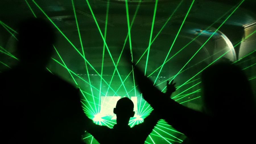 Living In The Light Living In The Moment Dance Party Outline Sillouette Lasers Lit Light Beam Luminosity Nightclub Atmosphere Vibrant Color Enjoyment Nightlife Bright Fun Laser