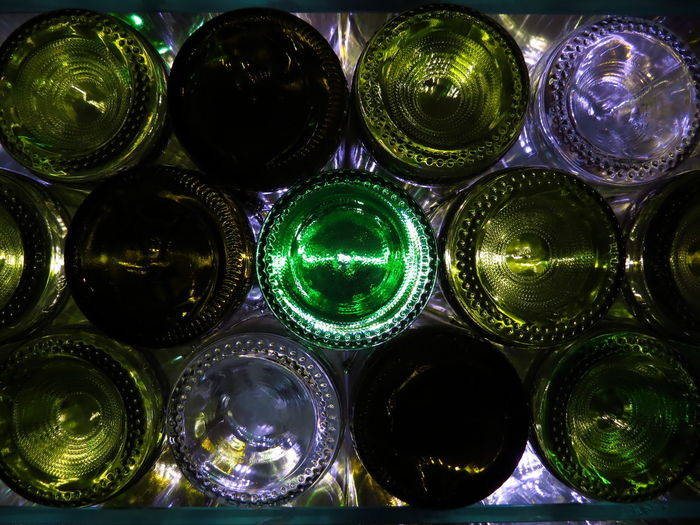 Full Frame Indoors  Glass - Material Close-up Arrangement Backgrounds Choice Pattern Variation Large Group Of Objects Shape Multi Colored Marbles Glass Bottle Bottles Bottles Collection Wine Bottle Wine Winery Green Glass Wine Glass Winemaking Wine moments Wine Cellar